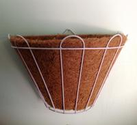 Wall Basket with Coconut Liner, Coconut Wire Basket