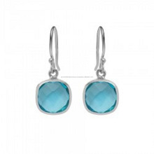 Blue Quartz Sterling Silver Bezel Set 12mm Faceted Cushion Gemstone Dangle Earrings - Earring For Women