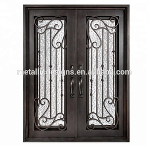 wrought iron doors oil rubbed bronze color metal entry doors custom flat top pre-hung double door design