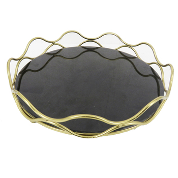 Decorative Metal granite serving tray Granite Metal serving tray Black granite tray