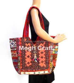 140edb0bd506 Bohemian Banjara Ethnic Handbags-vintage threadwork with Patch work decor  with pom pom and coins