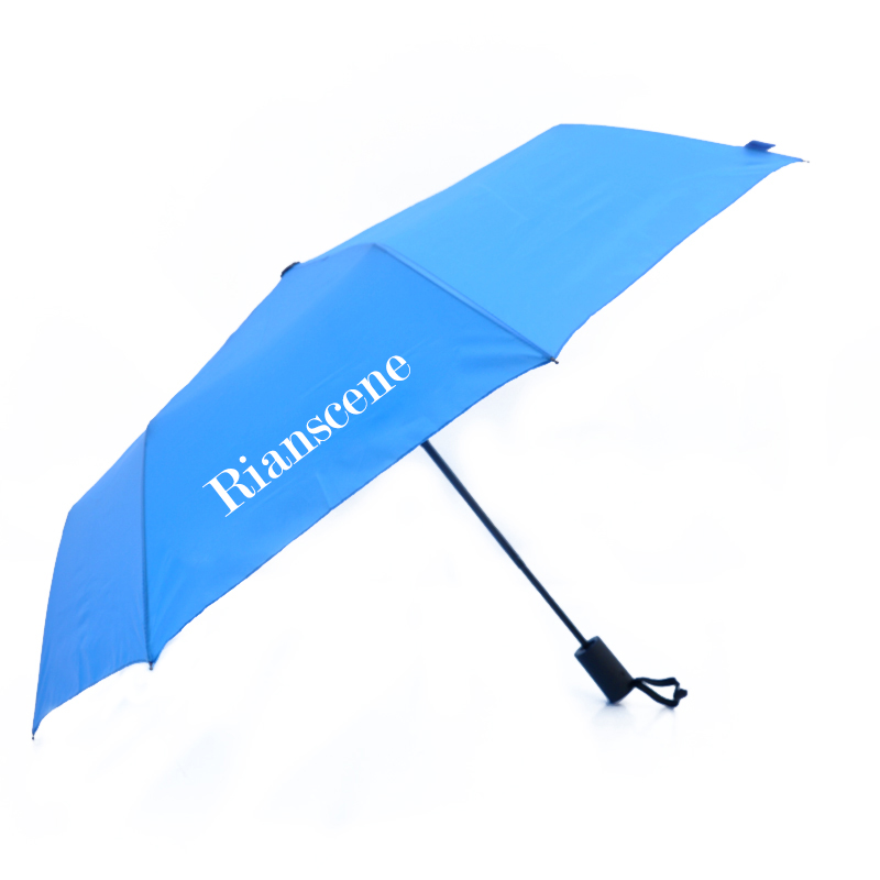 FF-09 wholesale custom logo black auto open 3 folding golf automatic umbrella