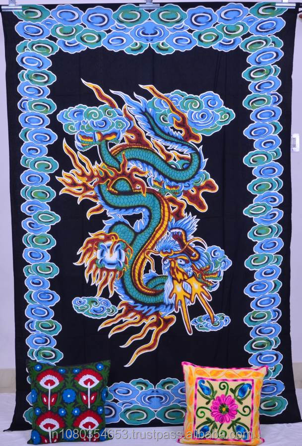 Dragon Printed 100%Cotton Twin Size Wall Tapestry Throw Bohemian Tapestry