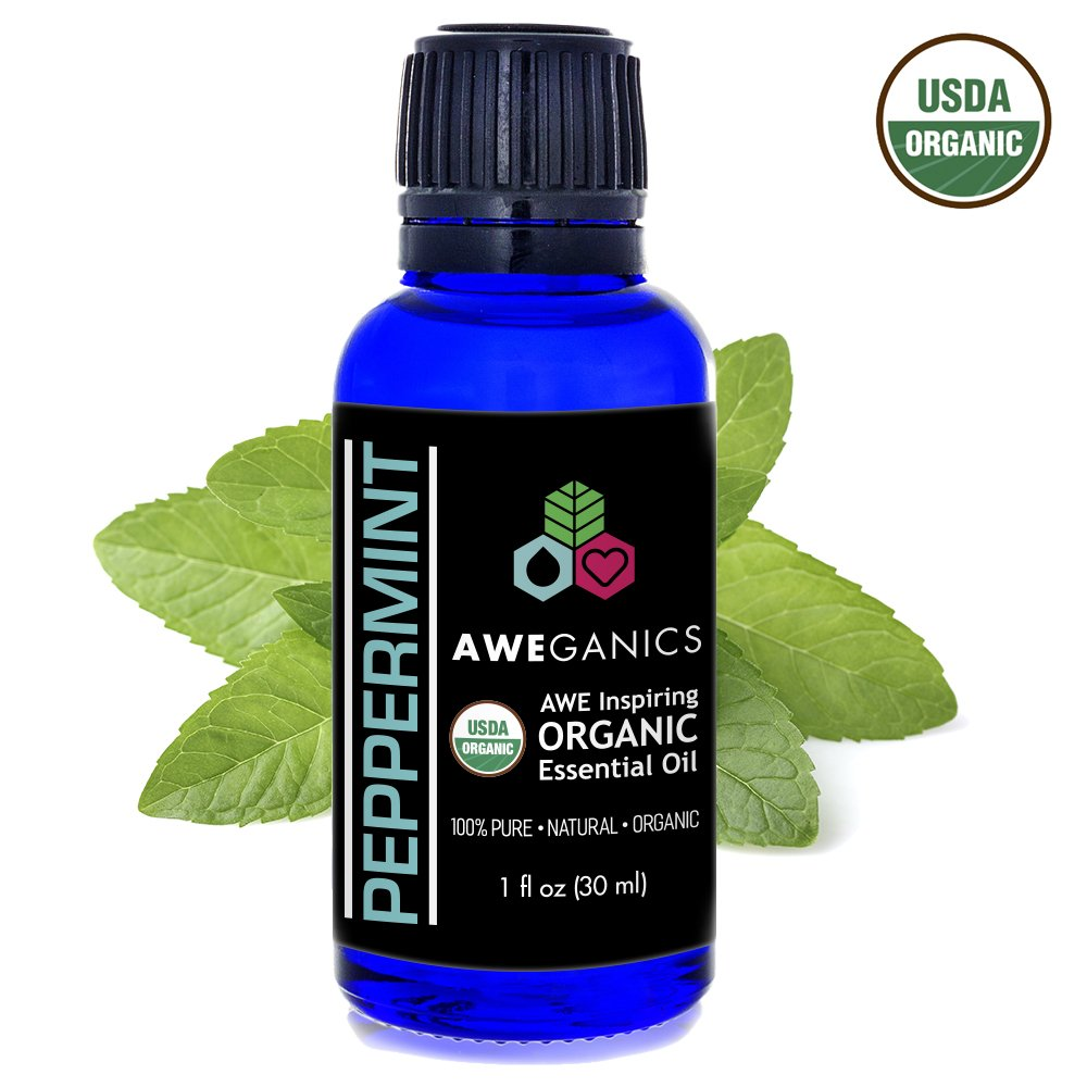 Aweganics Organic Peppermint Essential Oil, USDA Certified Organic, 100% Pure Natural Therapeutic-Grade, Best Aromatherapy Scented-Oils for Diffuser, Home, Personal Use, Relaxation 1 OZ MSRP $19.99