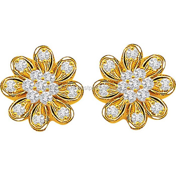 0 30 Ct Flower Shape Diamond Earring In 18kt Gold Blossom Er155