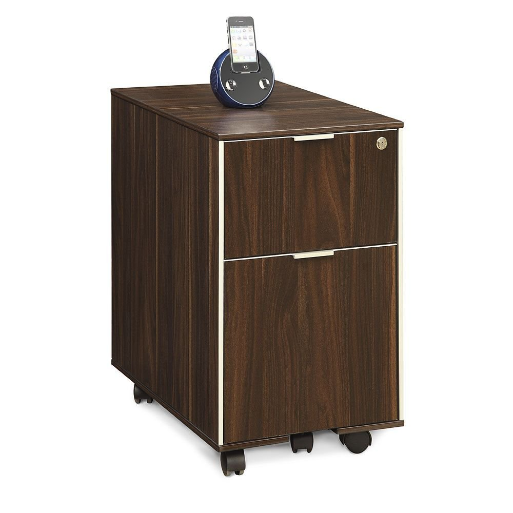 "Astoria Two Drawer Mobile Pedestal - 15.75""W Dark Walnut Laminate Dimensions: 15.75""W x 19.69""D x 25.79""H Weight: 67 lbs."