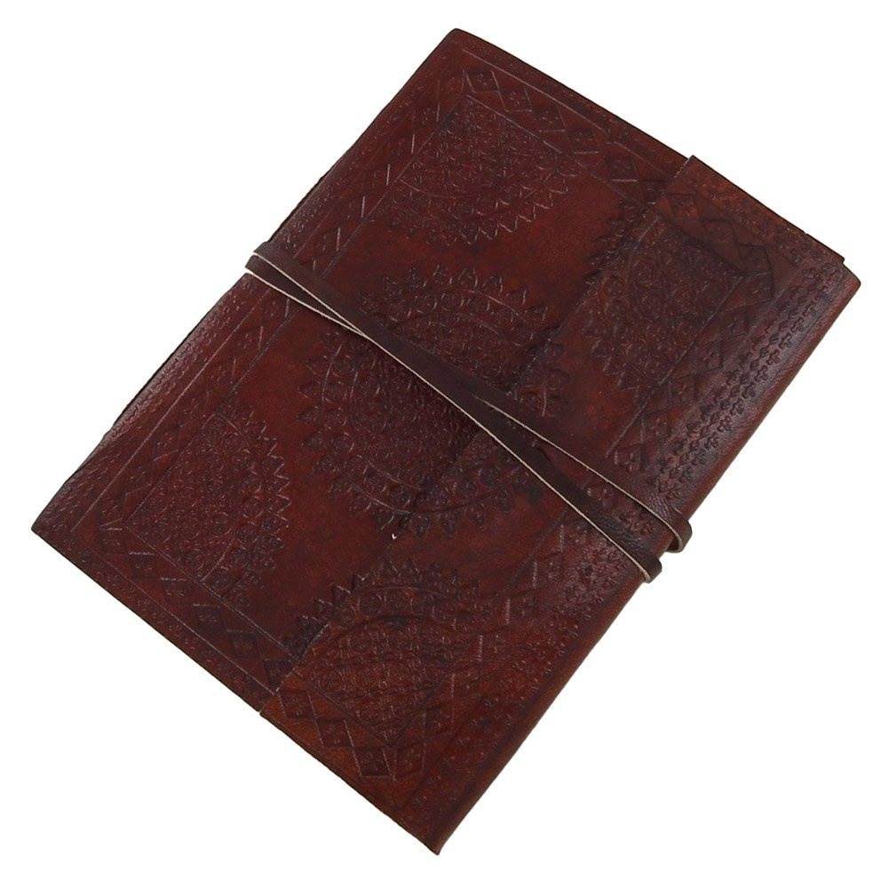 Medieval Circular Embossed Leather Bound Journal Diary Brown