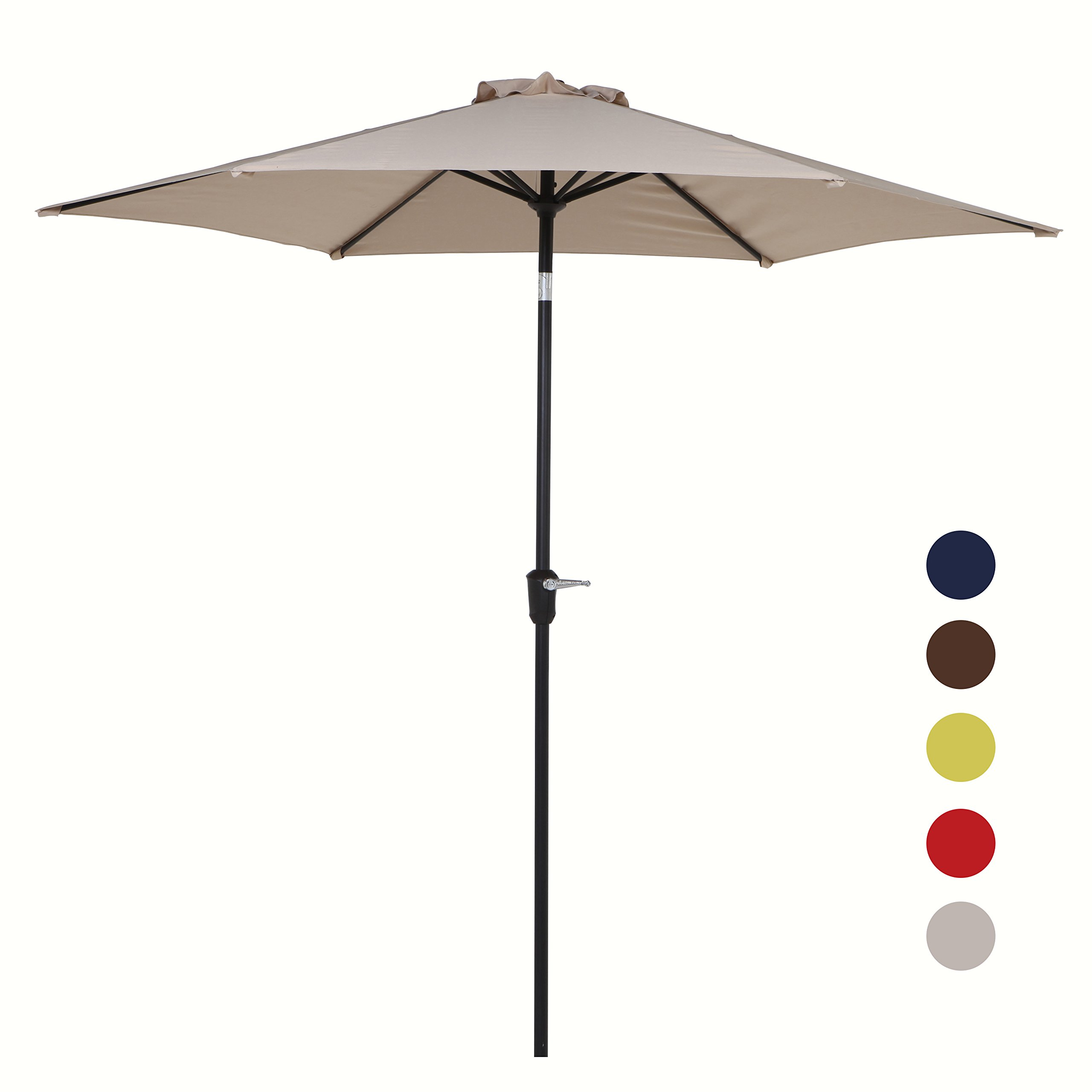 Grand patio 9FT Aluminum Patio Umbrella, UV Protective Beach Umbrella with Push Button Tilt and Crank, Powder Coated Outdoor Umbrella, Beige