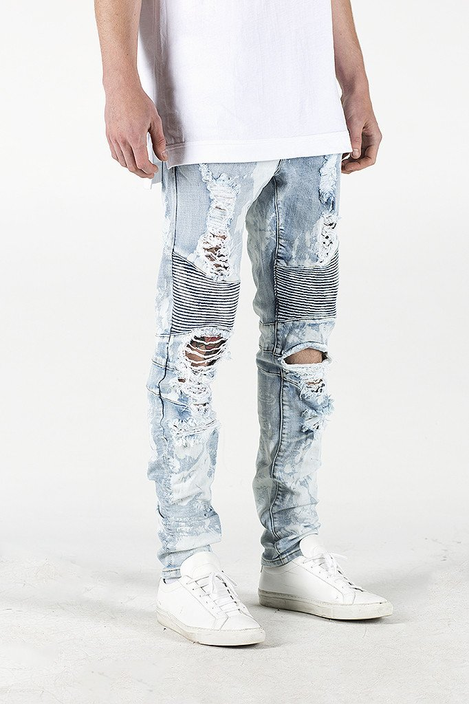 OEM private label brands Super skinny destroyed biker jeans moto man male denim jeans pants mens jeans styles 269