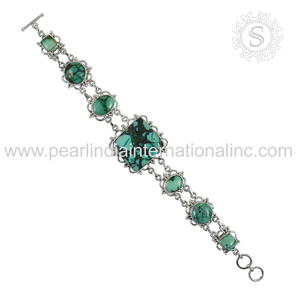 turquoise gemstone silver bracelet 925 sterling silver bracelet indian silver jewelry manufacturer