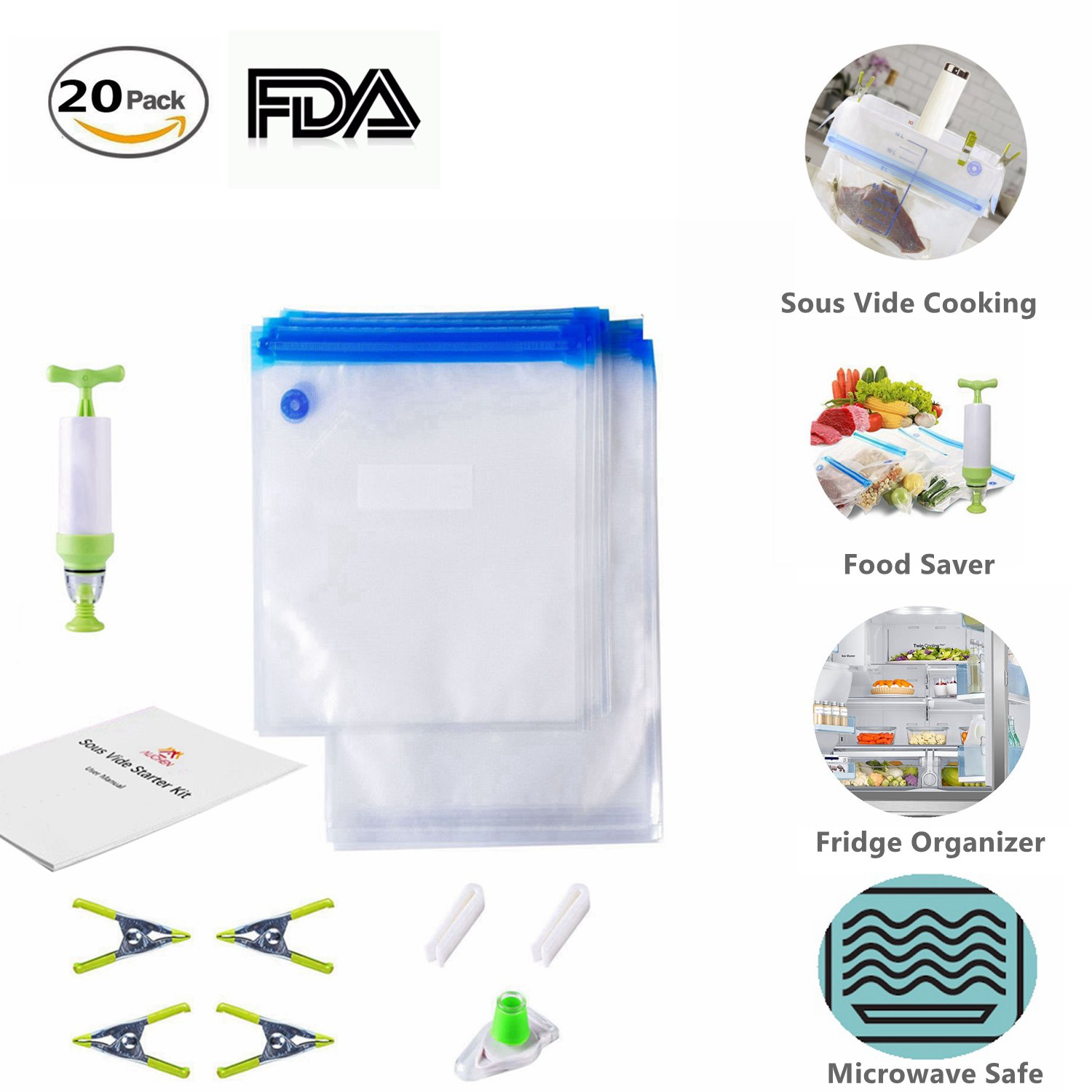 Sous Vide Bags Kit for Anova and Joule Cookers - 20 BPA Free Food Vacuum Sealed Bags, 1 Hand Pump, 2 Bag Sealing Clips and 4 Sous Vide Clips, Practical for Food Storage & Sous Vide Cooking