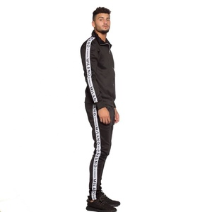 Custom Sport Wear Plain Track Pants Sweat Suits With Side Tape Stripe Track Suit