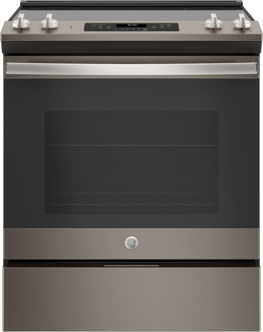 GE Slate Series 30 Inch Slide-in Electric Range with Smoothtop Cooktop, 5.3 cu. ft. Primary Oven Capacity, Storage Drawer, Delay Bake, Self-Cleaning Mode, Dual-Element Bake in Slate