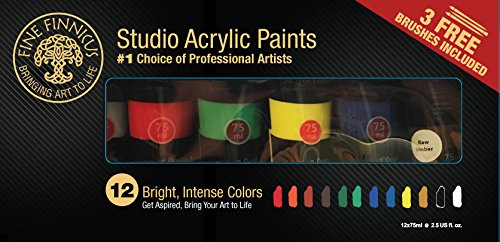 Artist Paint Set with 12 Vivid (75 ml) Colors and 3 Free Brushes. This Fine Finnicus Acrylic Paint Set is The Perfect Artist's Tool for Students, Hobbyist, and Great for Kids!