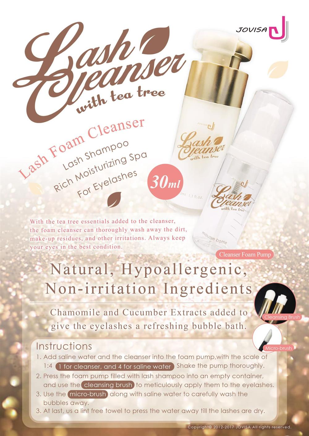 f3be1e38dbf JOVISA Lash Foam Cleanser Eye & Lash Cleanser With Tea Tree Clean 30ml for  Eyelash Extensions