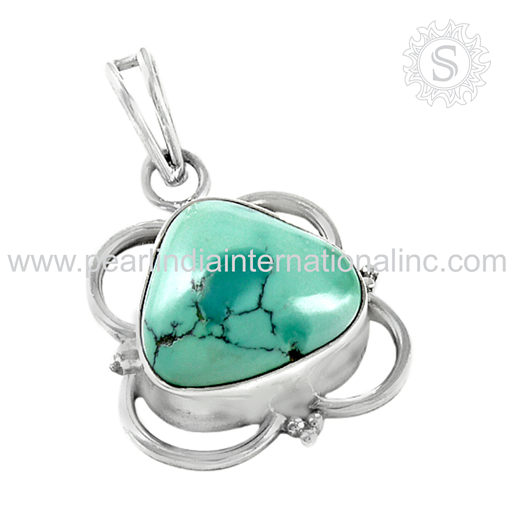 Sumptuous turquoise gemstone pendant 925 sterling silver jewelry wholesaler jewellery india