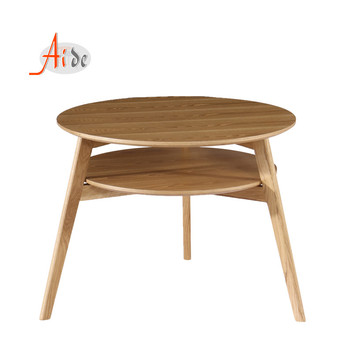 2 Tier Home Living Room Furniture Modern Wood Oval Coffee Table with wooden legs from china