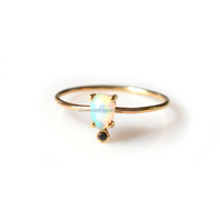 Natural Opal Gemstone Black Diamond 14k Solid Gold wedding rings Wholesale jewelry