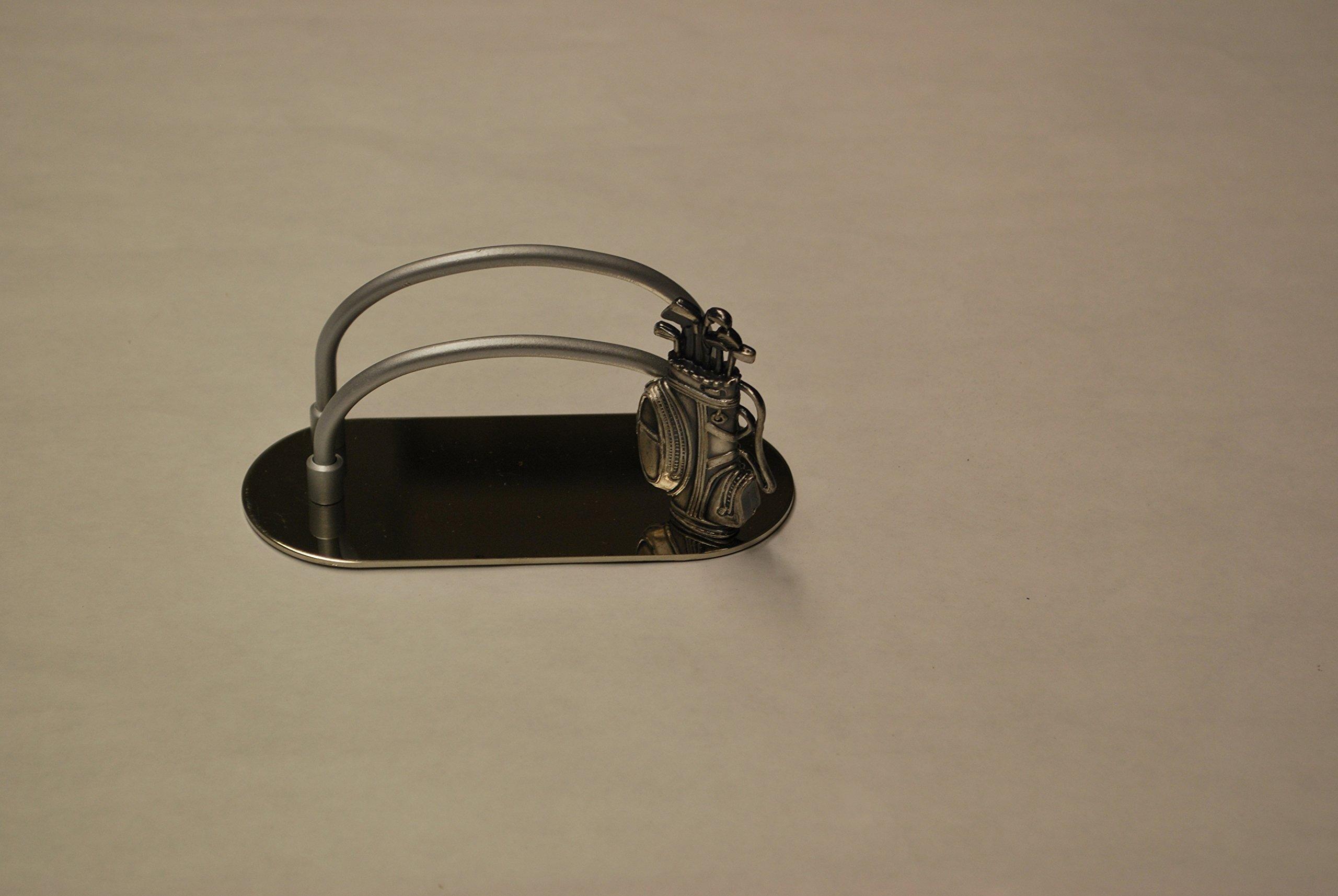 Golf Bag Motif Hand Detailed Business Card Holder - Pewter