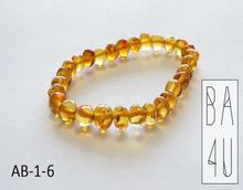 Baltic Amber Adult Bracelet Anklet Baroque Style Beads Honey Colour with Polished Finish from The Real Natural Baltic Amber