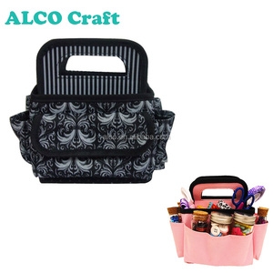 2016 Polyester black color hand carry craft tote bag for scrapbook storage