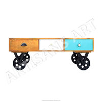 Vintage Solid Wood Multi Drawer Coffee Table With Wheel, Retro Industrial Indian Furniture