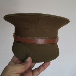 army khaki officer visor hat/cap/Military peck cap with leather strap