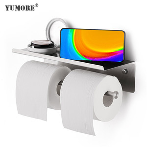 Toilet kitchen tissue paper towel roller holder with mobile phone accessory storage shelf