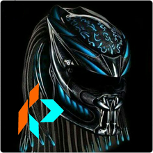 Handmade Monster Predator Helmet Metallic Black Blue MY-50036