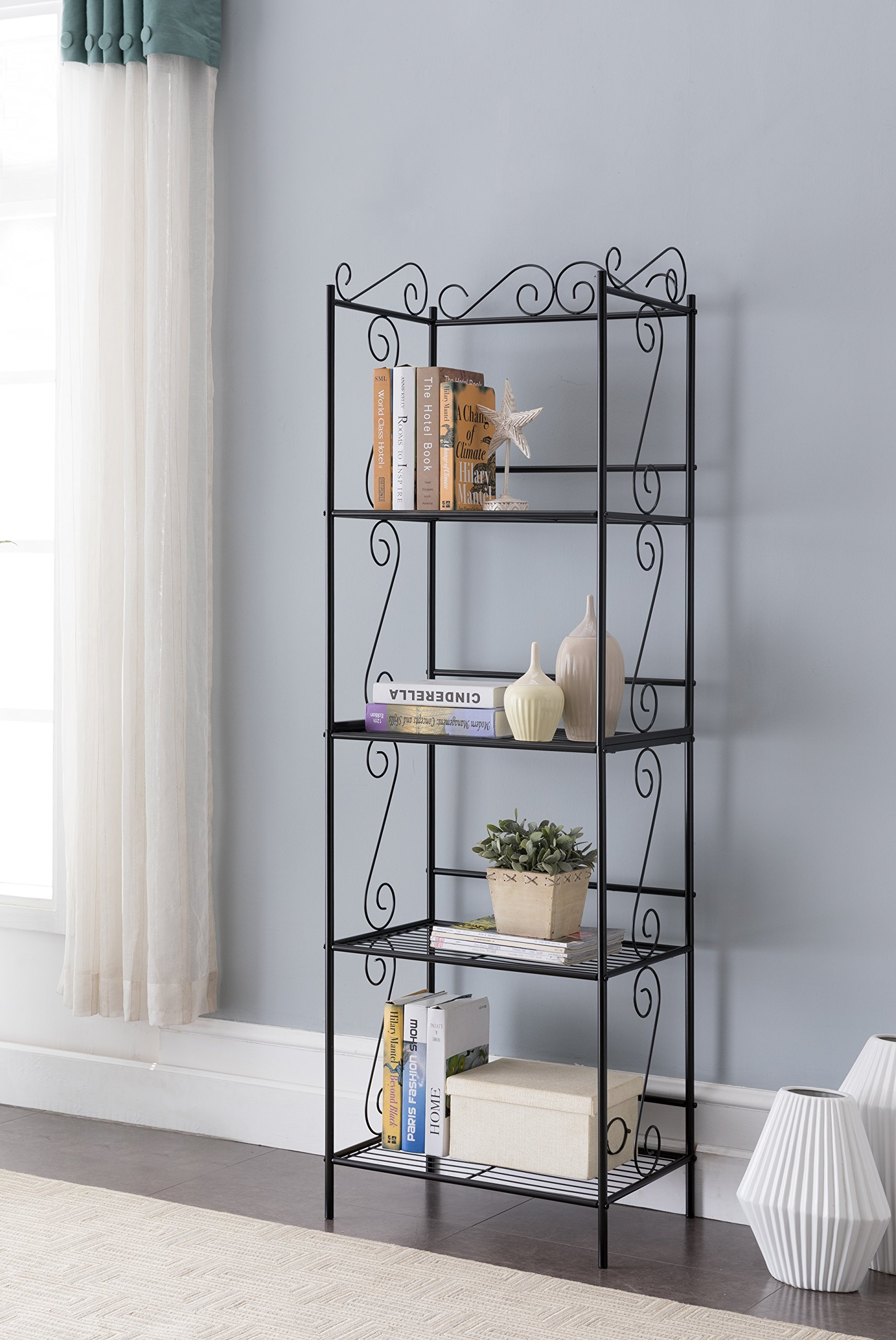 Black Metal 4 Tier Free Standing Bakers Rack Dining Laundry Room Bookcase Bookshelf Organizer