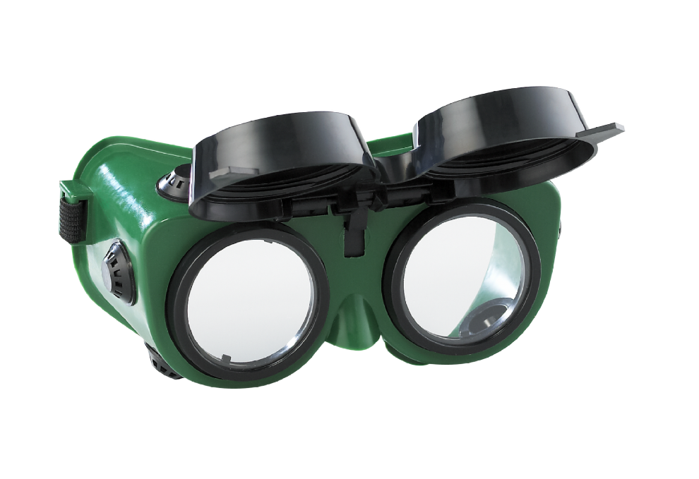 Flip Up Dark Green Lenses Welding Cutting Welders Safety Goggles Glasses -1