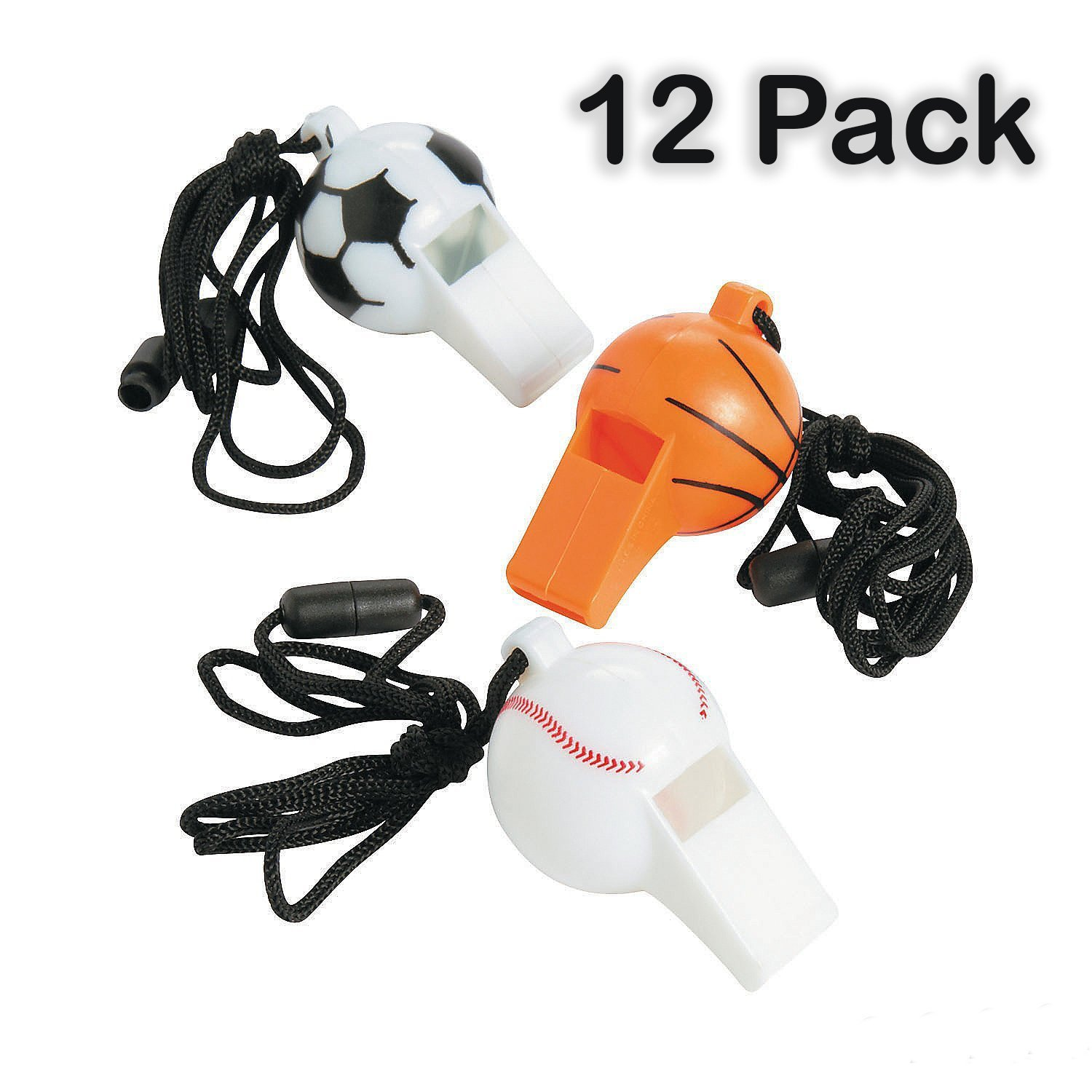 "Plastic Sports Ball Whistles With Lanyard - Pack Of 12 - Whistle Is 2"", Lanyard Is 24"", Assorted Sports Balls - For Kids Great Party Favors, Fun, Toy, Gift, Prize For Sports Festivals - By Kidsco"