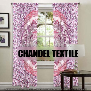 Mandala Panel Set Curtain Indian Wall Hanging Curtains Bohemian Window Treatment Pink Ombre Valance Ethnic Decorative