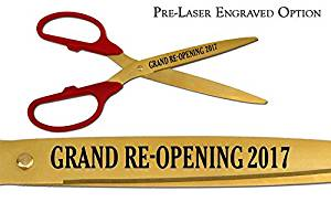 """Pre-Laser Engraved """"GRAND RE-OPENING 2018"""" 25"""" Red/Gold Ceremonial Ribbon Cutting Scissors"""