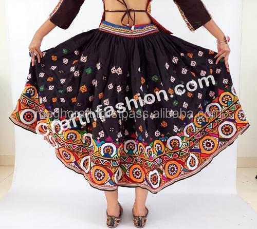 Traditional Banjara Long Skirt Belly Dancer Dress Mirror Belt Costume Attire S Bauchtanz