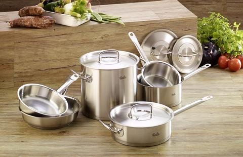 "Fissler Original Pro 10 pc original profi Stainless Steel Cookware Set - 8"" Fry Pan, 9.5"" Fry Pan, 3.2qt Sauté Pan w/ lid, 9.6qt Stock Pot w/ lid, 2.7qt Saucepan w/ lid, 1.5qt Saucepan w/ lid"