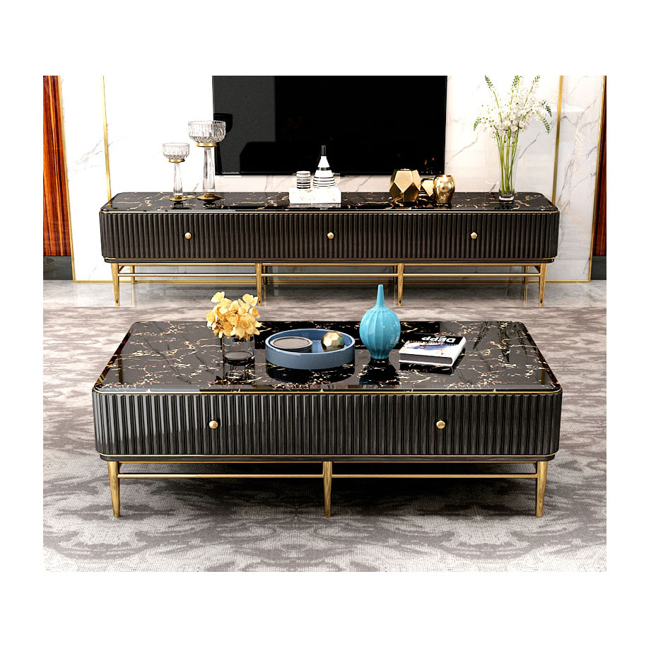 black modern contemporary stainless steel tv stand universal simple design marble top tv stand cabinet living room furniture