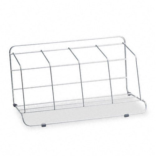 Fellowes : Four-Section Wire Catalog Rack, Metal, 16 1/2 x 10 x 8, Silver -:- Sold as 2 Packs of - 1 - / - Total of 2 Each