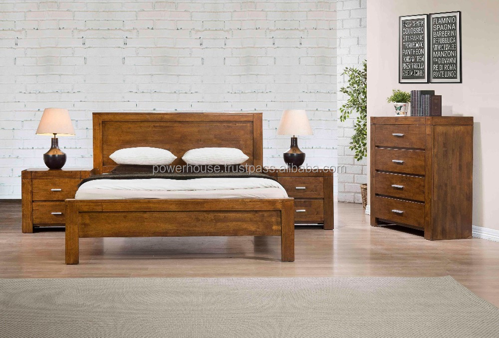 Modern Wooden Furniture Made In Malaysia Solid Rubberwood California Bedroom Set