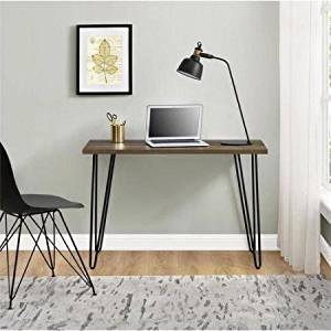 Retro Desk,Multiple Colors,Office Furntirue,Writing Desk,Dining Room,Powder-Coated Metal Legs,Made from Laminated Particleboard,Home Furniture,Computer Desk,BONUS e-book (Walnut)