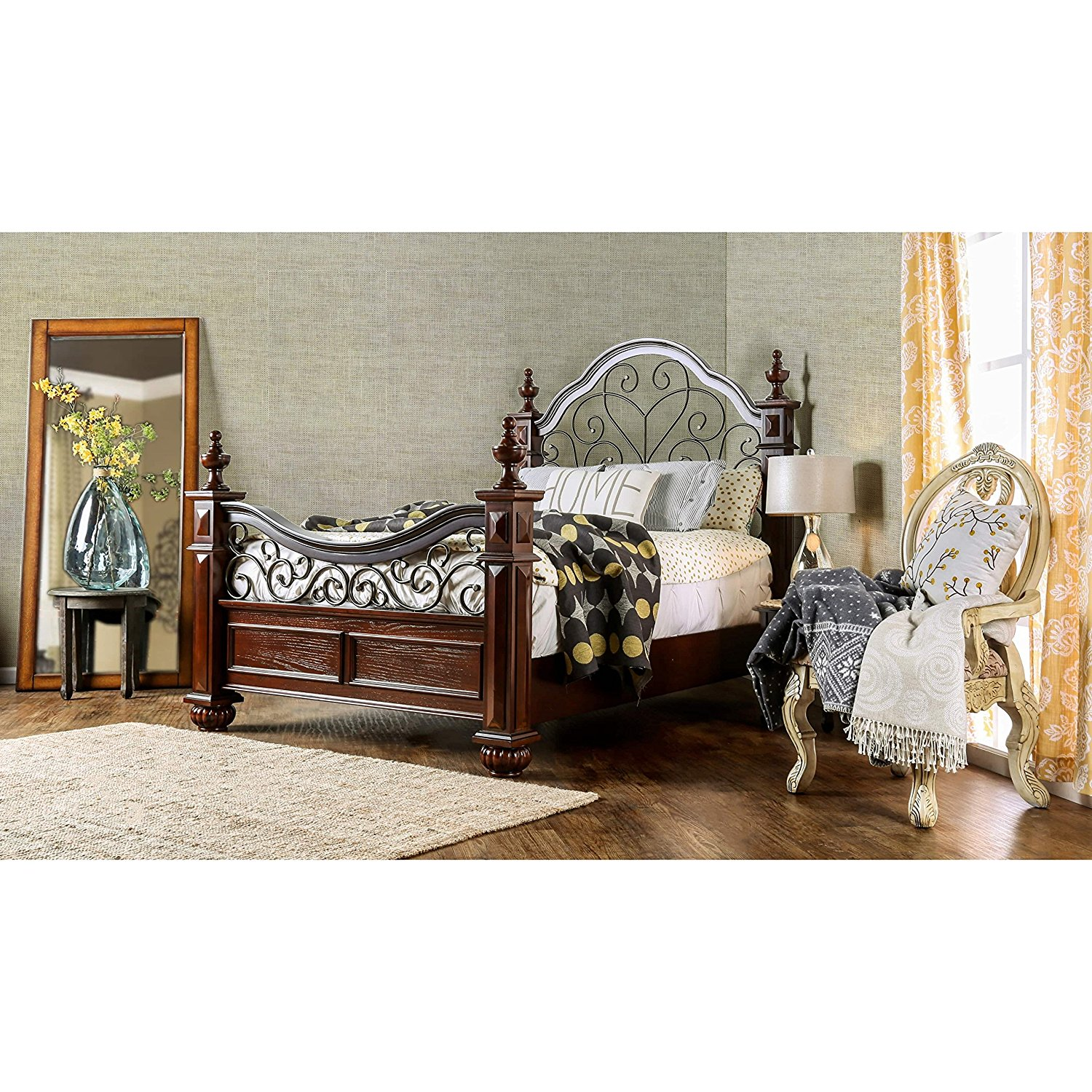 51e5df6a2bcb Get Quotations · Furniture of America Barath Antique Dark Oak Wood and Metal  Poster Bed Queen