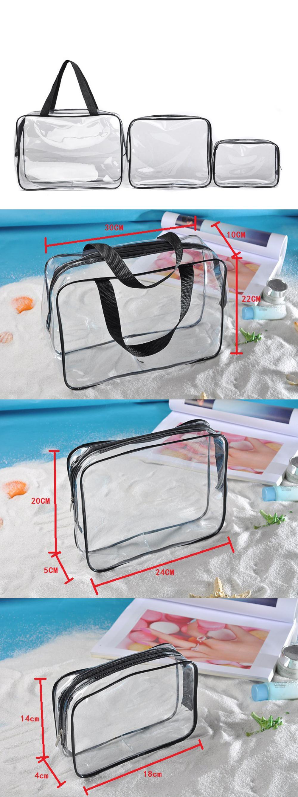 ฤดูร้อนโปรโมชั่น 25 วินาทีความร้อนใสโปร่งใส pvc เครื่องสำอางค์กระเป๋าชุดถุงพลาสติก