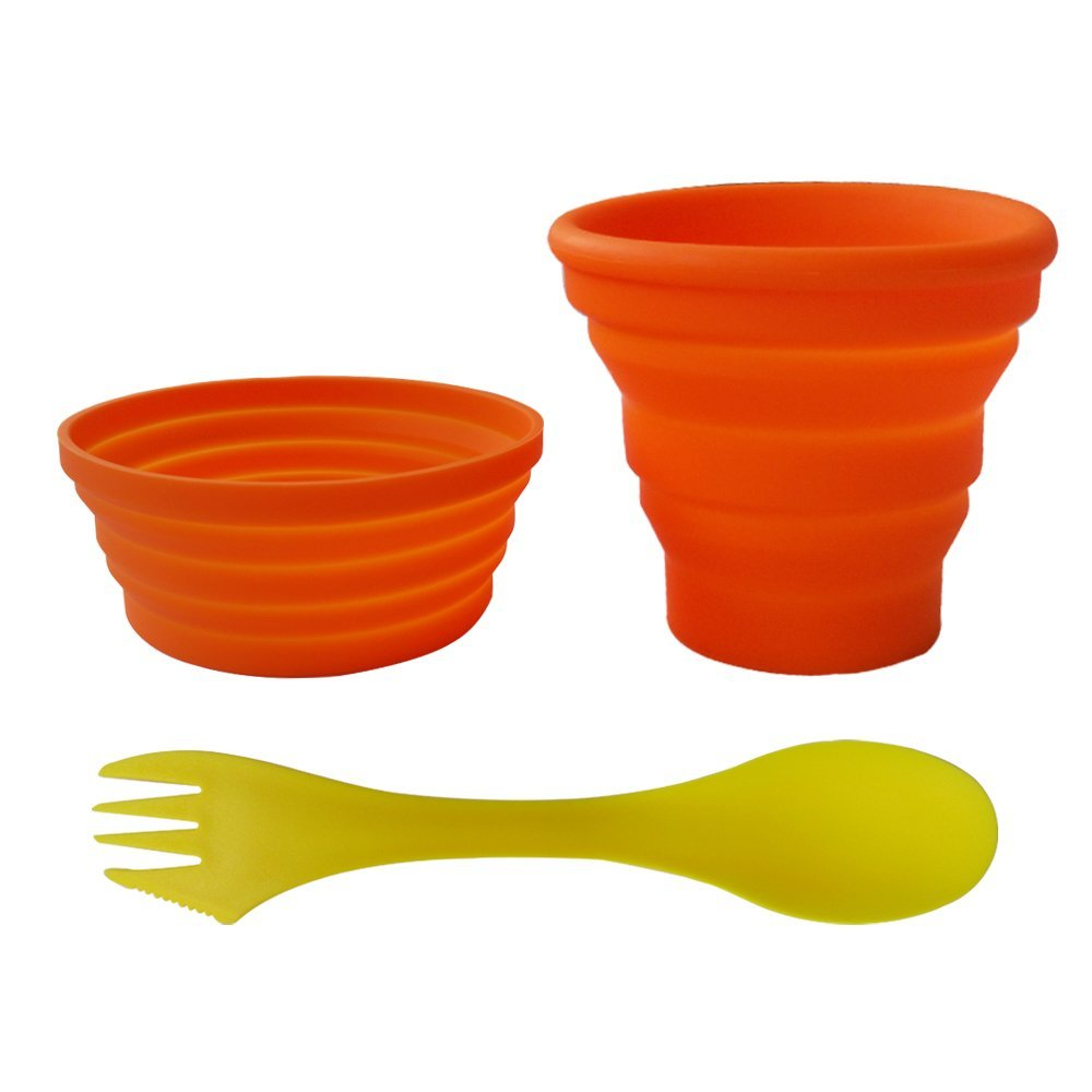Ecoart Silicone Collapsible Bowl Cup Set with Spork for Outdoor Camping Hiking Travel - Set of 3