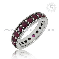 Fantabulous round design ruby silver ring 925 sterling gemstone silver ring wholesale jewellery exporter