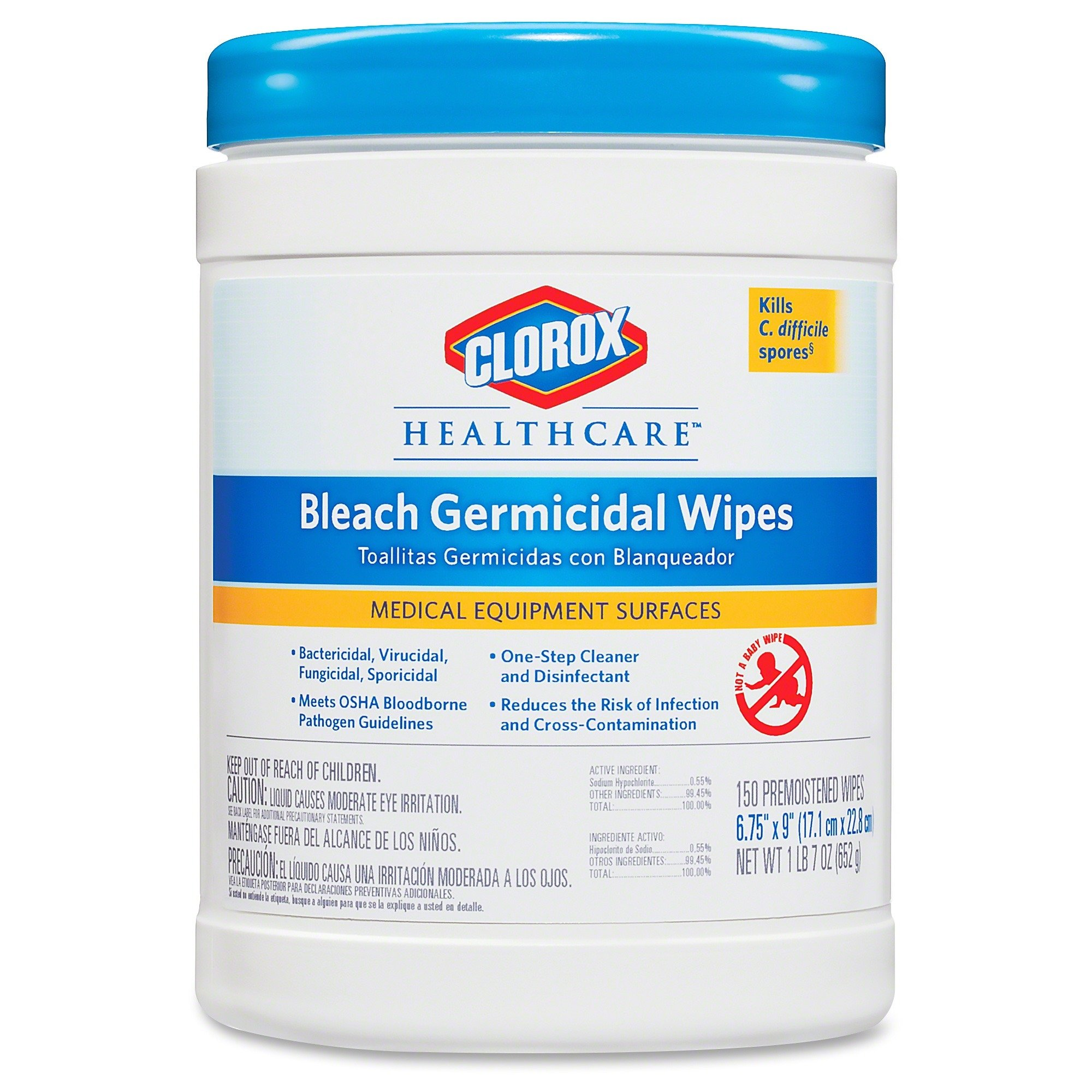 Clorox Healthcare Bleach Germicidal Wipes, 150 Count Canister, 6 Canisters/Case