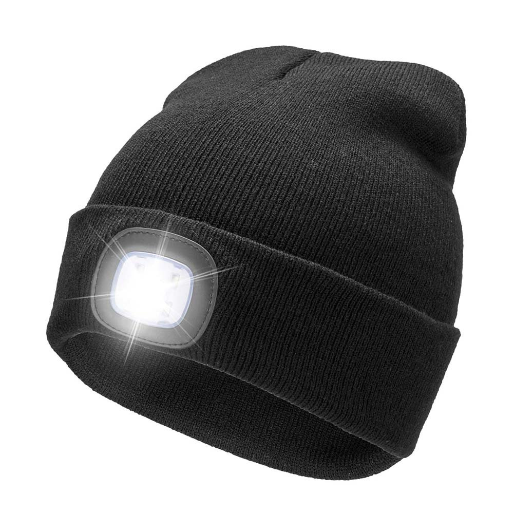 abdd675fd7b6a Get Quotations · YJWB 4 LED Lighted Beanie Cap Winter Warm Hunting Hat for  Night Outdoor Fishing Hiking Camping