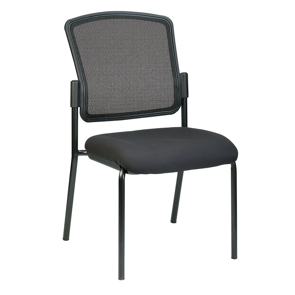 "Dakota2 Armless Mesh Back Fabric Seat Stack Chair Dimensions: 19""W x 24.8""D x 35.4""H Seat Dimensions: 18""Wx19""D Weight: 19 lbs. Black Fabric Seat/Black Mesh back/Black Steel Frame"
