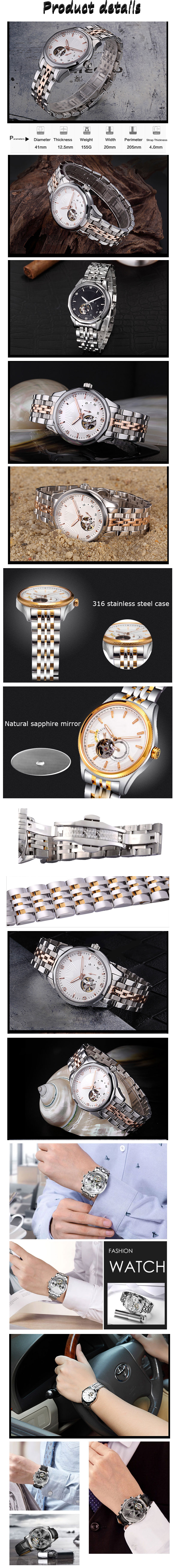 Mechanical wrist watches stainless steel 316l watch women luxury watch