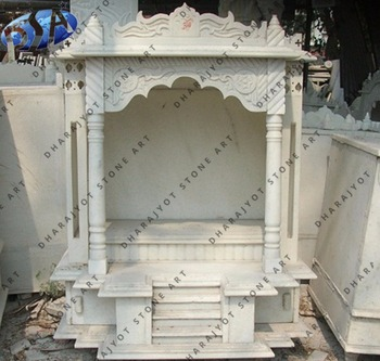 White Marble Polished Temple Mandir For Home Decor