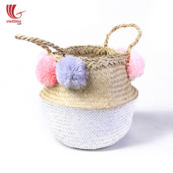 Dipped bottom seagrass belly basket/folding seagrass basket, plant pot cover